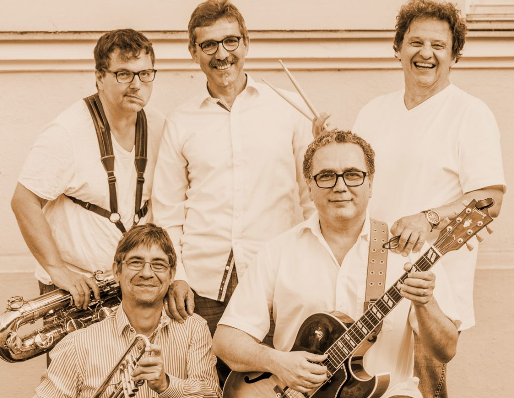 Whisky and Wine sind: Jörg Kilgus (Bari. Sax.), Matthias Bertsch (Trp.), Christian Netocny (Piano), Flamur Ahmedi (Guit.), Michael Burger (Drums)